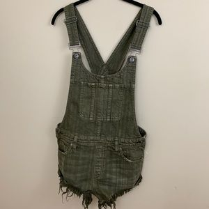 NWOT Free People Olive Green Denim Overall Shorts